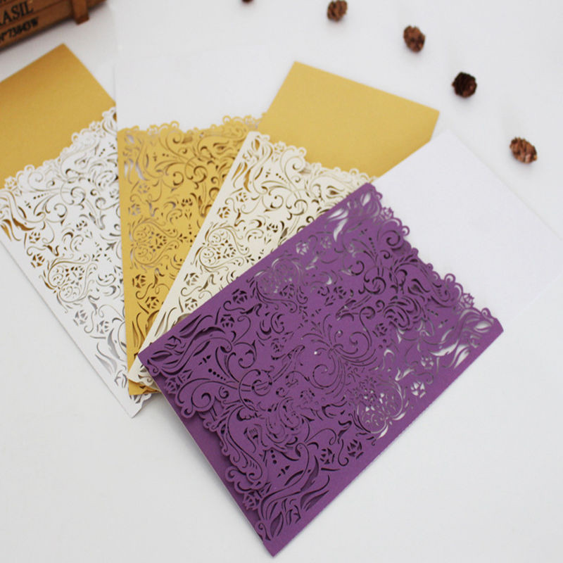 10 Pcs/set 18x12cm Pearl Paper Wedding Hollow Invitation Card Party Supply European Style Party Decor Creative Engagement Supply creative spider paper lantern halloween supply party decoration
