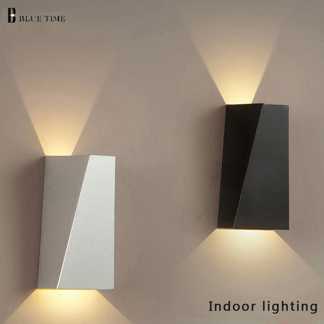 cool indoor lighting. Black/White 10W LED Wall Light For Home Dual-Head Geometry Bedside Lamp Bathroom Cool Indoor Lighting