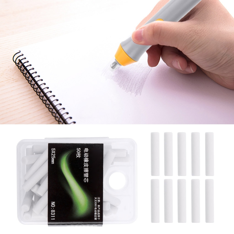 50 Pcs Electric Eraser Replacement Sketch Erasing Rubber School Stationeries Use
