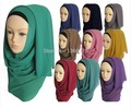 (12 peças/lote) alta qualidade Grande chiffon Cor Sólida simples muçulmanos longo cachecol xales islâmicos hijab lenço pode escolher cor QK010