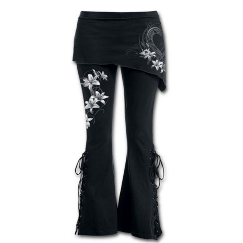 Brand Women Plus Size 5XL Trousers Fashion Flower Printed Sexy Bandage Stretch Large 4/5 Flare Pants Cotton Blends Pants Black