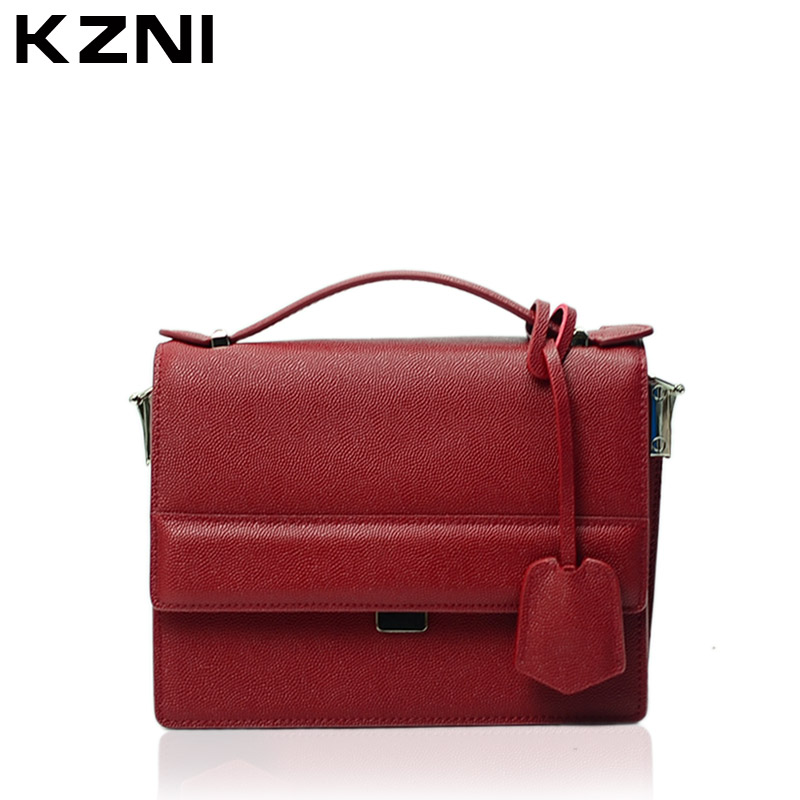 KZNI Genuine Leather Handbag Women Shoulder Bags for Women 2017 Designer Handbags High Quality Sac a Main Bolsa Feminina 9015 women messenger bags designer handbags high quality 2017 new belt portable handbag retro wild shoulder diagonal package bolsa