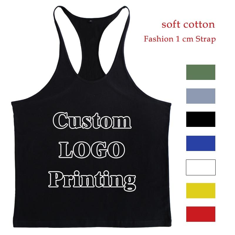 Custom   Tank     Top   Men Singlet Muscle Shirt Fitness Sleeveless Vest Bodybuilding Clothing Stringer Workout Regata Musculation