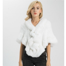 Jancoco Max S1025 Wholesale Retail Thick Knitted Lady Real Rabbit Fur Poncho Or Women Fur Bride