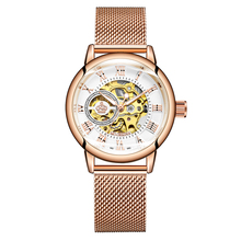 ORKINA 自動機械式時計の女性ローズゴールド時計女性 relojes mujer 女性腕時計ガールドレス時計 Montre ファム