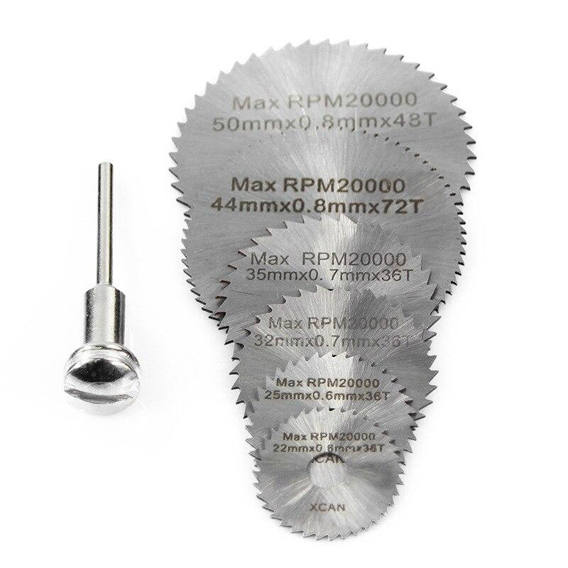 6 Saw Blade +1 Pole Hss High-speed-steel Circular Rotary Blade Wheel Discs Mandrel For Metal Dremel Tools Wood Cutting Saw
