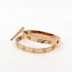 Titânio aço jóias chave de fenda amantes do parafuso pulseiras femme cristal manguito pulseira & pulseiras para feminino masculino pulseiras b015