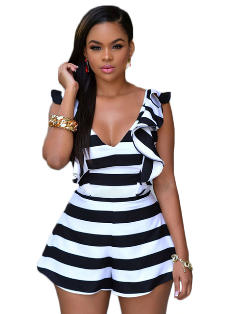 Cfanny 2016 New Sexy Hollow Out Rompers Women Jumpsuits Sleeveless Black White Stripes Ruffle Sliky Romper Female Playsuits