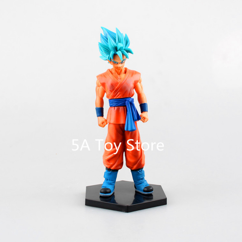 Dragon Ball Z FMS Goku Super Saiyan Blue Action Figure With Stand PVC Collectible Model Toy 17CM