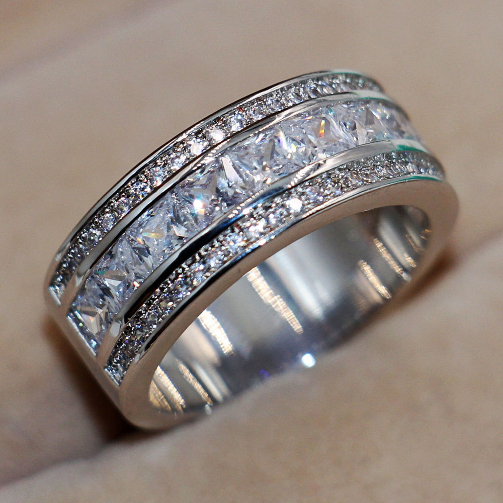 Nice Lover White Sapphire Diamonique 10kt White Gold Filled Lady's  Simulated Diamond Wedding Band Ring Sz