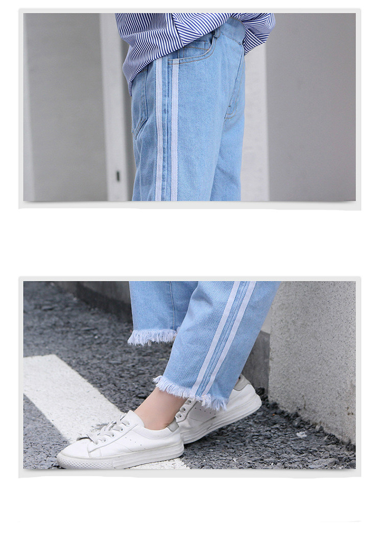 Girls 4-12 Years Spring Autumn Jeans Denim Loose Pants Casual Fashion Raw Edges Side Double Stripes Elastic Waist Jeans Trousers 21