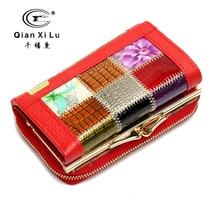 Qianxilu марка мода дамы геометрическая портмоне бумажник карт портмоне carteira де couro femme женщины кошелек