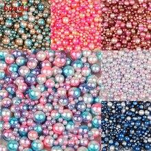 Neue Mode 250-1000 stücke Keine Loch ABS Natürliche Perle Lose Runde Perle 4/6/8/10mm Gemischte Größe Option Zufalls Fünf Mix Farben