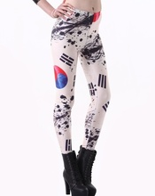 Women Sexy Hip Leggings Trousers Korean Slim Stretched Yoga Fitness Tights Korea Flag Design Digital Print Girls Pants