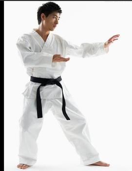 Kimono de manga larga para niños, ropa de kárate, japonesa, color blanco, 120-185cm