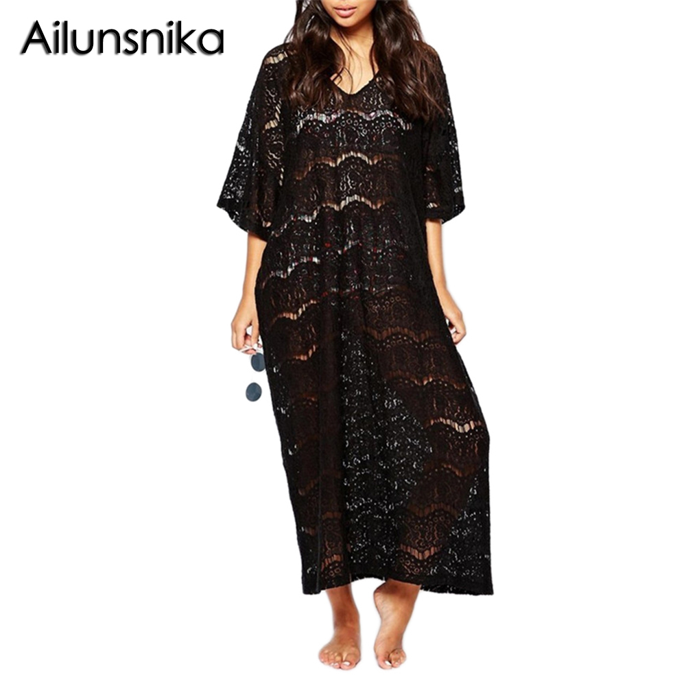 Ailunsnika Summer Sexy Lace Hollow Out Beach Long Dress For Women Half Sleeve V Neck Loose Ladies Kaftan Beachwear Tunic MX232