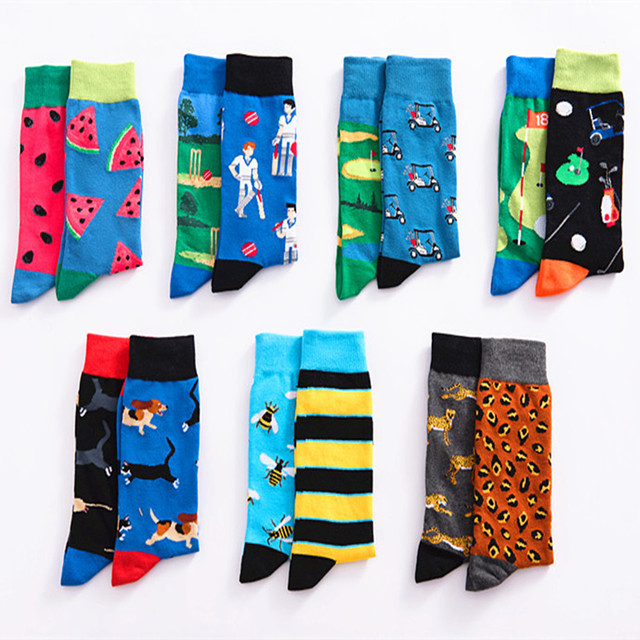 Striped stitching print socks stylish casual personality fun chaussettes homme fantaisie sweat-absorbent breathable cotton sock