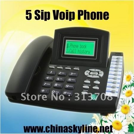 Cheap and HOT! supply 5 sip line IP PHONE ,3 way conference call, 5 sip registration