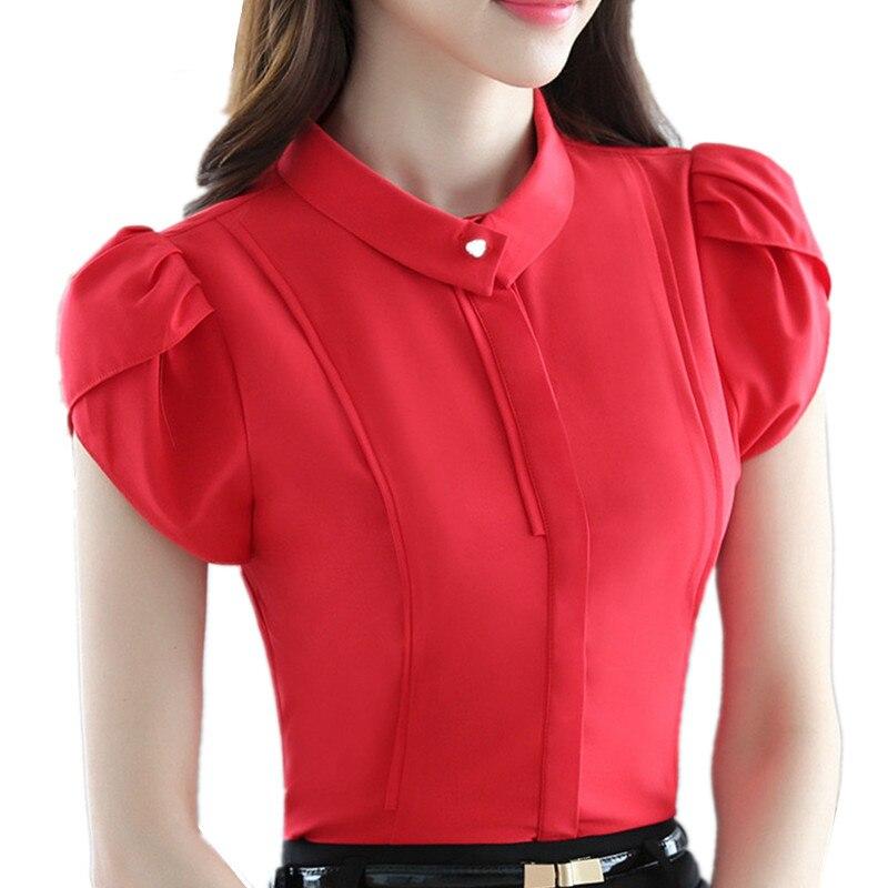 New 2017 Tops Puff Short Sleeve Shirt Summer Blouse Elegant Solid Color Chiffon Blouse Women Top