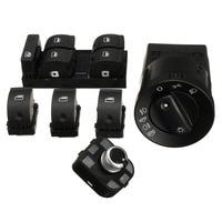 6Pcs/Set Car Headlight Window Mirror Panel Switch Button Control Kit For Audi A4 Sedan B6 B7 Car Styling