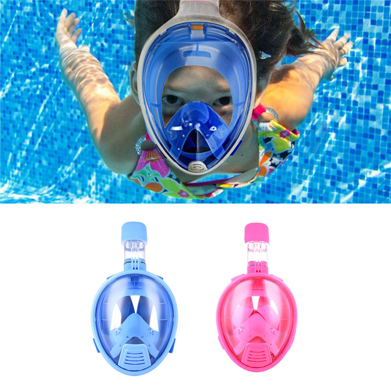 Kids Safe Full Face Mask Snorkeling Scuba Watersport Underwater Diving Swimming Snorkel Anti Fog Full-face Children Diving Mask super quality full face diving mask liquid silicone spearfishing mask snorkeling equipment scuba masks m246