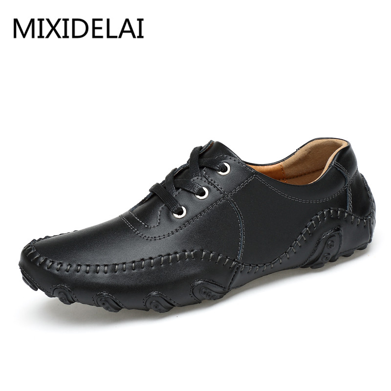 Men Shoes 2018 Fashion Genuine Leather Casual Shoes Comfortable Flats Autumn Dress Shoes for Men Loafers genuine leather men casual shoes plus size comfortable flats shoes fashion walking men shoes