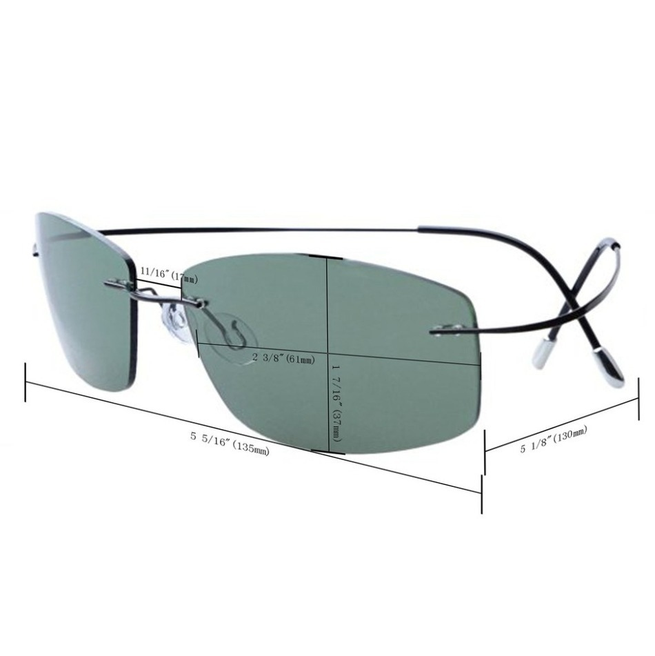 Ultra-light Non-screw Non-hinge Rimless Titanium Frame Gray Green - Apparel Accessories - Photo 5