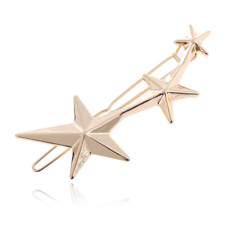 1 шт Заколки для волос для Для женщин 3 золотой заколки со звездочками заколки для девочек G0507 - Цвет: A