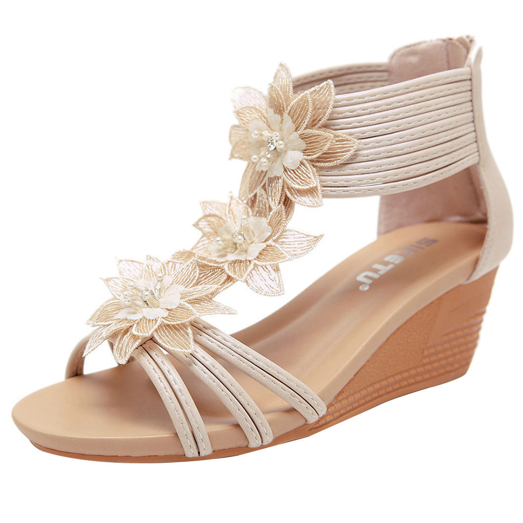Jaycosin 2019 shoes Women Summer Sandals New Sloping Heels Of New Roman Style Flowers Wedges Slipper Shoes 2