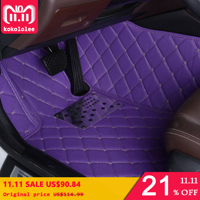 KOKOLOLEE Custom car floor mats for Honda All Models CRV XRV Odyssey Jazz City crosstour S1 CRIDER VEZEL auto foot mat auto floor mats for honda cr v crv 2007 2011 foot carpets step mat high quality brand new embroidery leather mats
