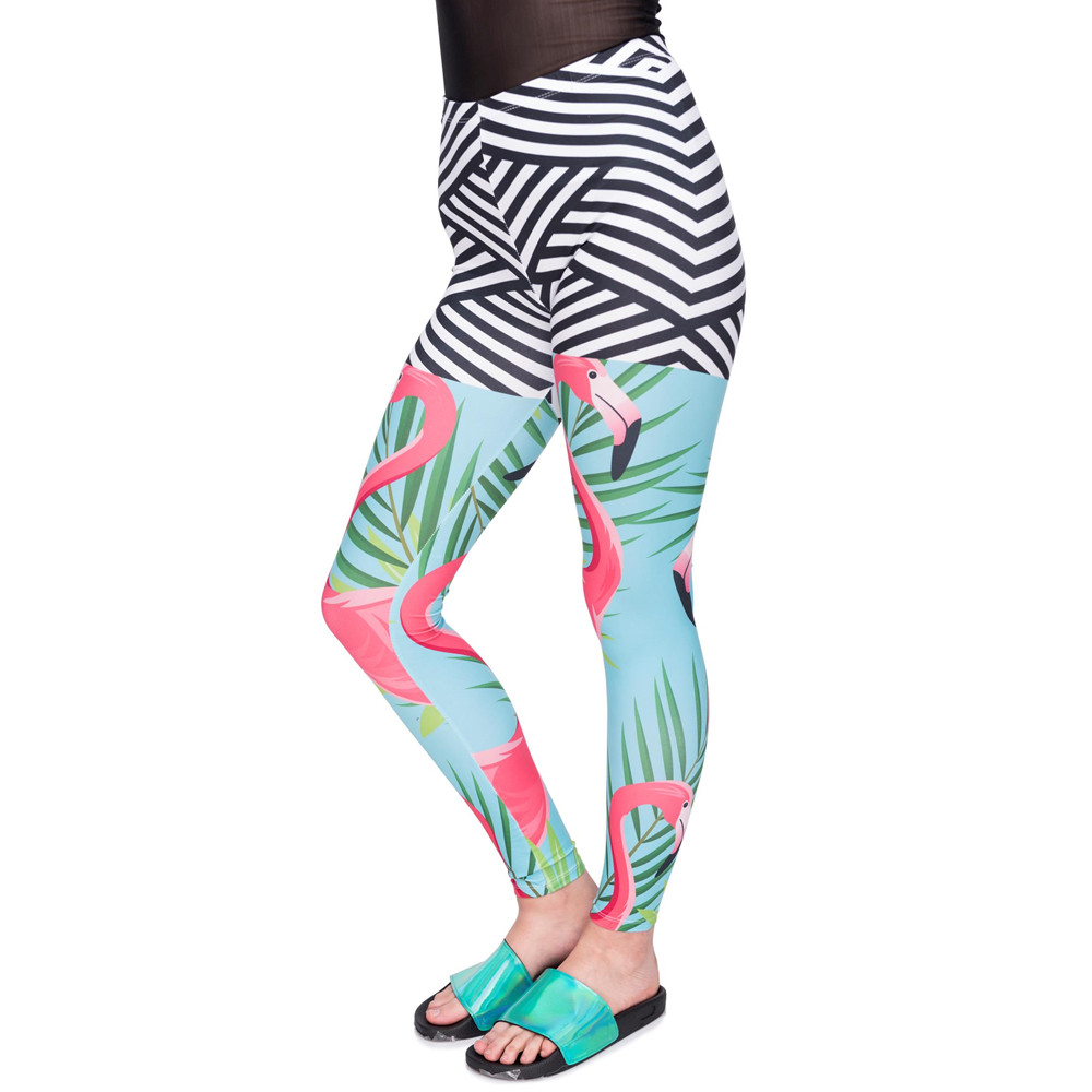 New Arrival Women Legging Flamingo Palm Leaves Printing Leggings Slim Cozy High Waist Woman Pants