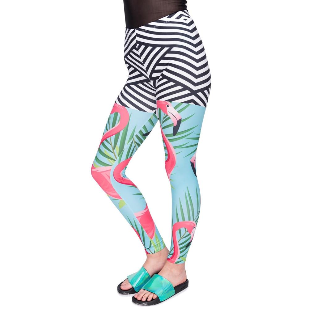 New Arrival Women Legging Flamingo Palm Leaves Printing Leggings Slim Cozy High Waist Woman Pants
