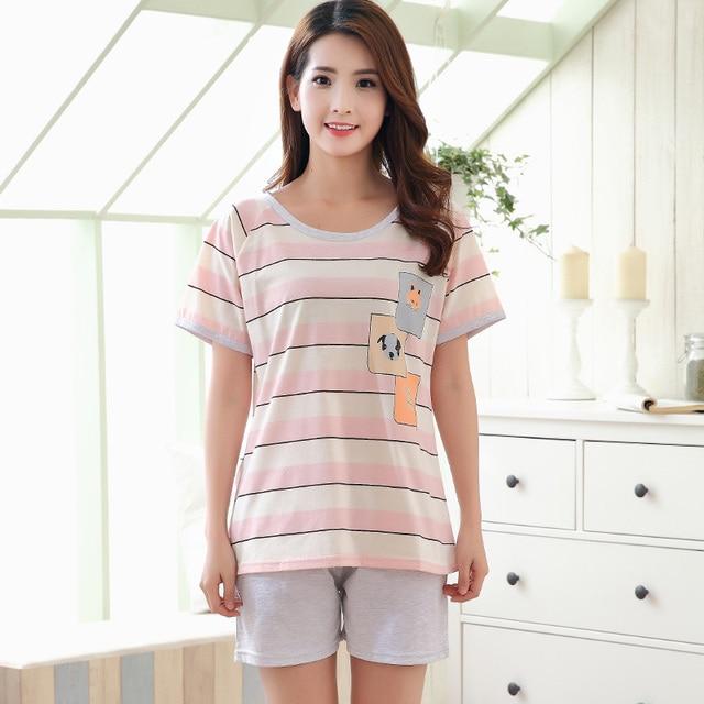 Summer Cotton Short Sleeved Pajamas Sets Women Striped Pajamas Sweet Girls  Sleepwear Loungewear Cute Pyjama femme 3XL Clothing 3aee4f601