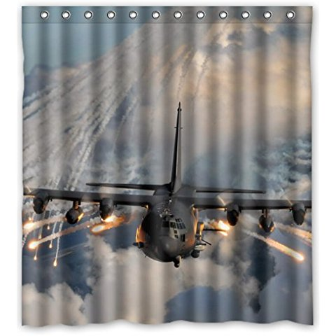Special Design Cute Personalized Classic Cool Airplane Waterproof Bathroom Shower Curtain 66Wx72H InchBathroom Decor