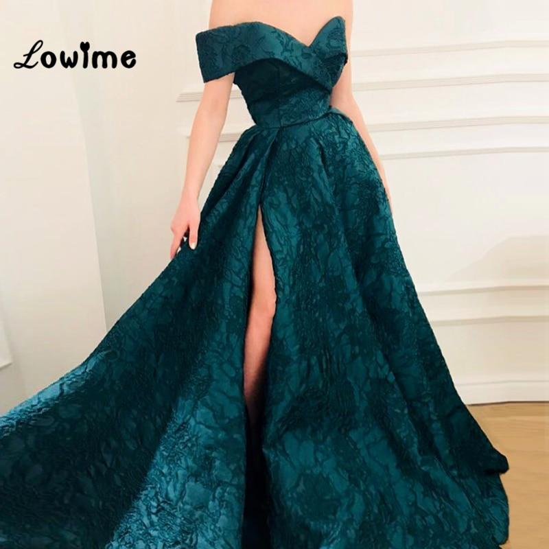 Green Dubai Evening Dress Off Shoulder Saudi Arabic Prom Dresses Long 2018 Party Gowns Vestido De Festa Longo