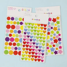 12 Sheets/Lot New Colorful Dots Star Heart Paper Sticker DIY Multifunction Decoration Stationery Stickers Office School Supplies
