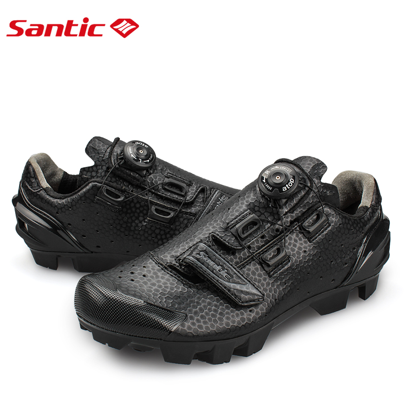 Santic Cycling MTB Bike Bicycle Men Shoes Breathable Mountain Bike Bicycle Equipment Self locking TPR PU Shoes With Free Socks - 3