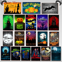 Vintage Happy Halloween Metal Tin Signs Pumpkin Party Decoration Trick or Treat Retro Wall Poster Bar Cafe Club Home Decor WY64