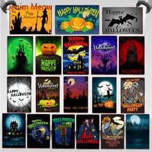 цена на Vintage Happy Halloween Metal Tin Signs Pumpkin Party Decoration Trick or Treat Retro Wall Poster Bar Cafe Club Home Decor WY64