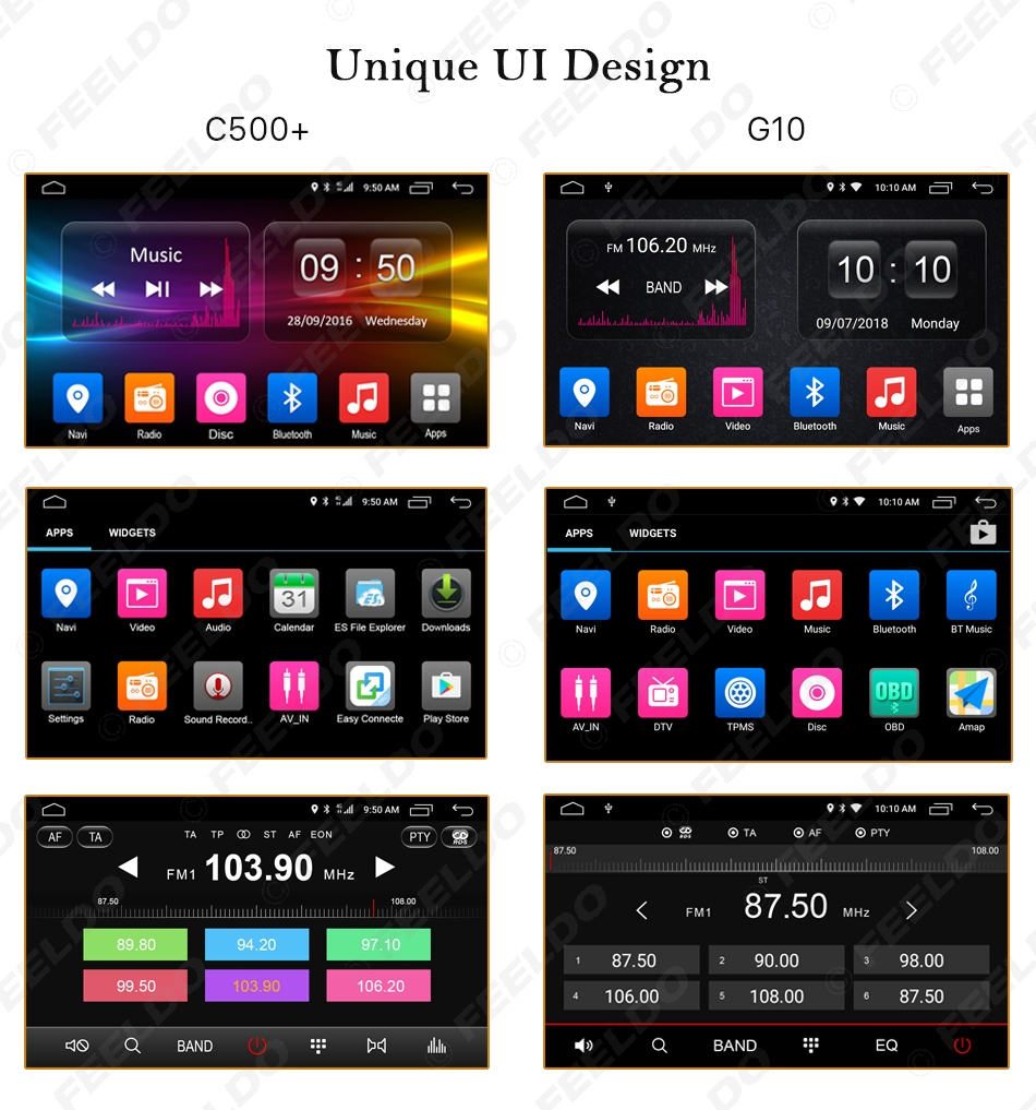"""Excellent FEELDO  10.1"""" Android 6.0 4-Core/DDR3 1G/16G/Support 4G Dongle Car Media Player With GPS/FM/AM RDS For Superb 2016 (Superb B8) 22"""