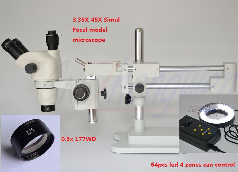 FYSCOPE 3.35X 45X ! DOUBLE BOOM STAND TRINOCULAR SIMUL FOCAL HEAD INSPECT STEREO ZOOM MICROSCOPE+64PCS LED|Microscopes| |  - title=