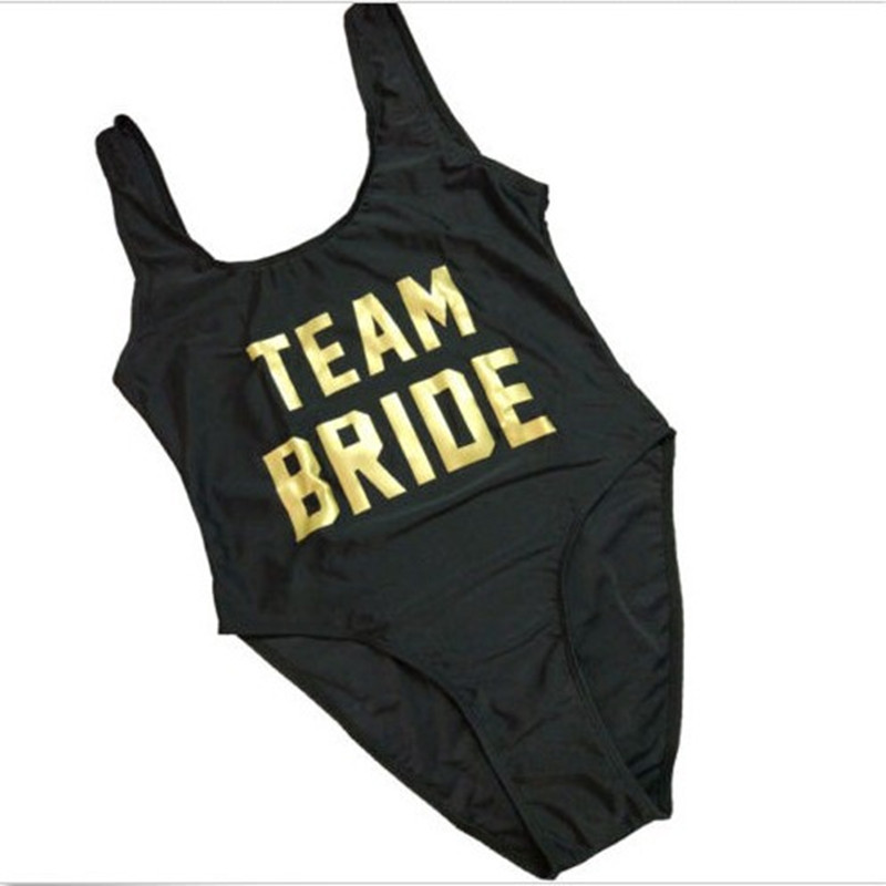 TEAM BRIDE Gold Letter Print Sexy Thong One Piece Swimsuit Women High Cut Monokini Swimwear Beach Backless Funny Bathing Suit 03 red gold bride wedding hair tiaras ancient chinese empress hat bride hair piece