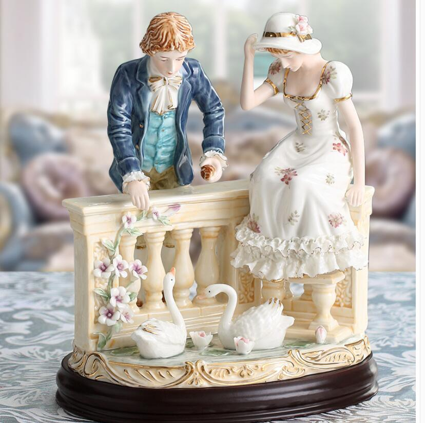 luxury ceramic Home High-grade decoration European character couple swan place ceramic living room room luxury wedding gift