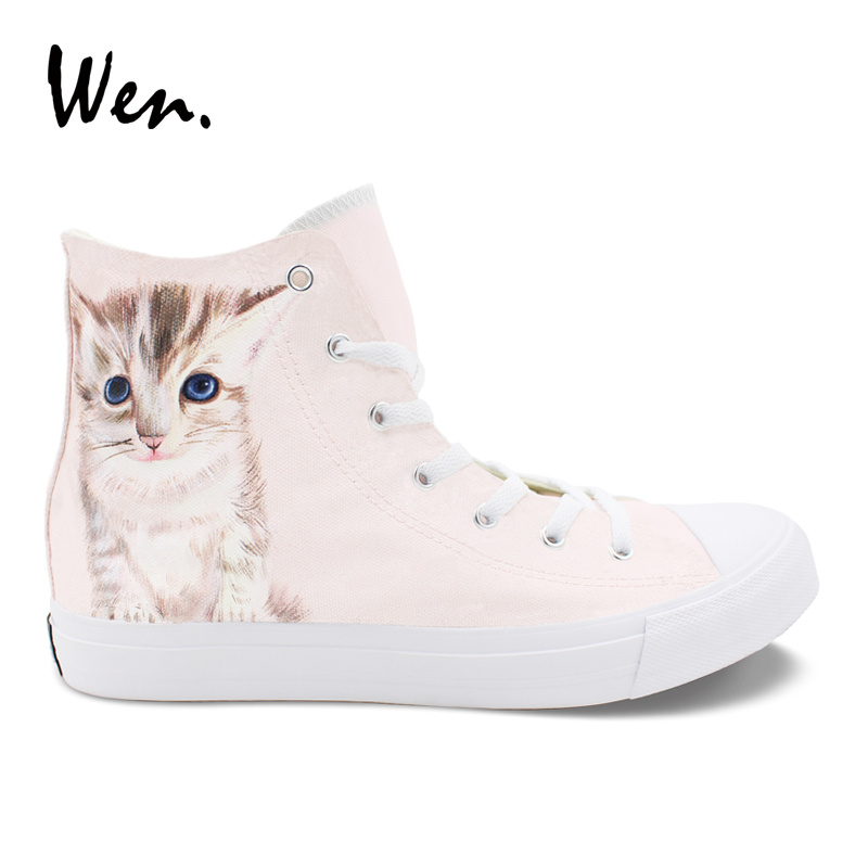 Wen Custom Design Creamy Kitty White Cat Hand Painted Animal Shoes Canvas Unisex Sneakers High Top Skateboard Shoes wen giraffe canvas shoes classic white hand painted animal sneakers sports high top skateboarding shoes for man woman