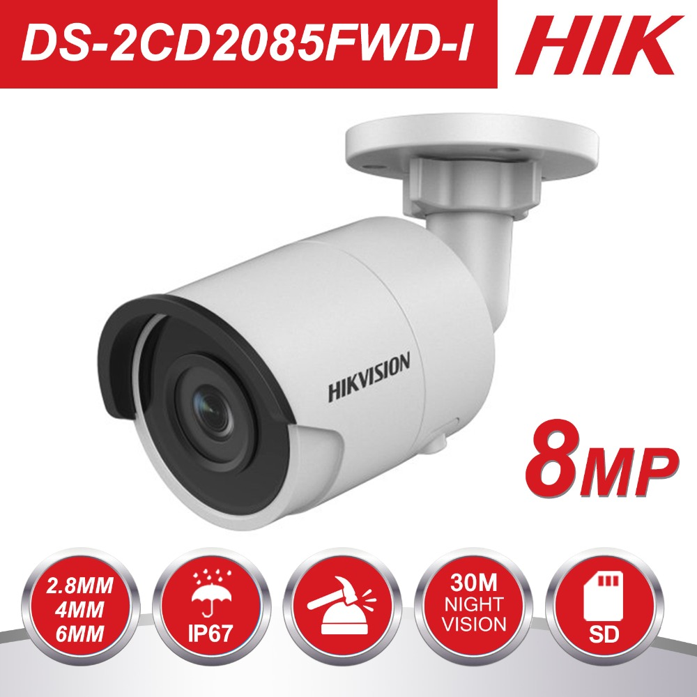 HIK 8MP H.265 Réseau Bullet IP Caméra DS-2CD2085FWD-I 3D DNR caméra de sécurité haut Résolution 3840*2160