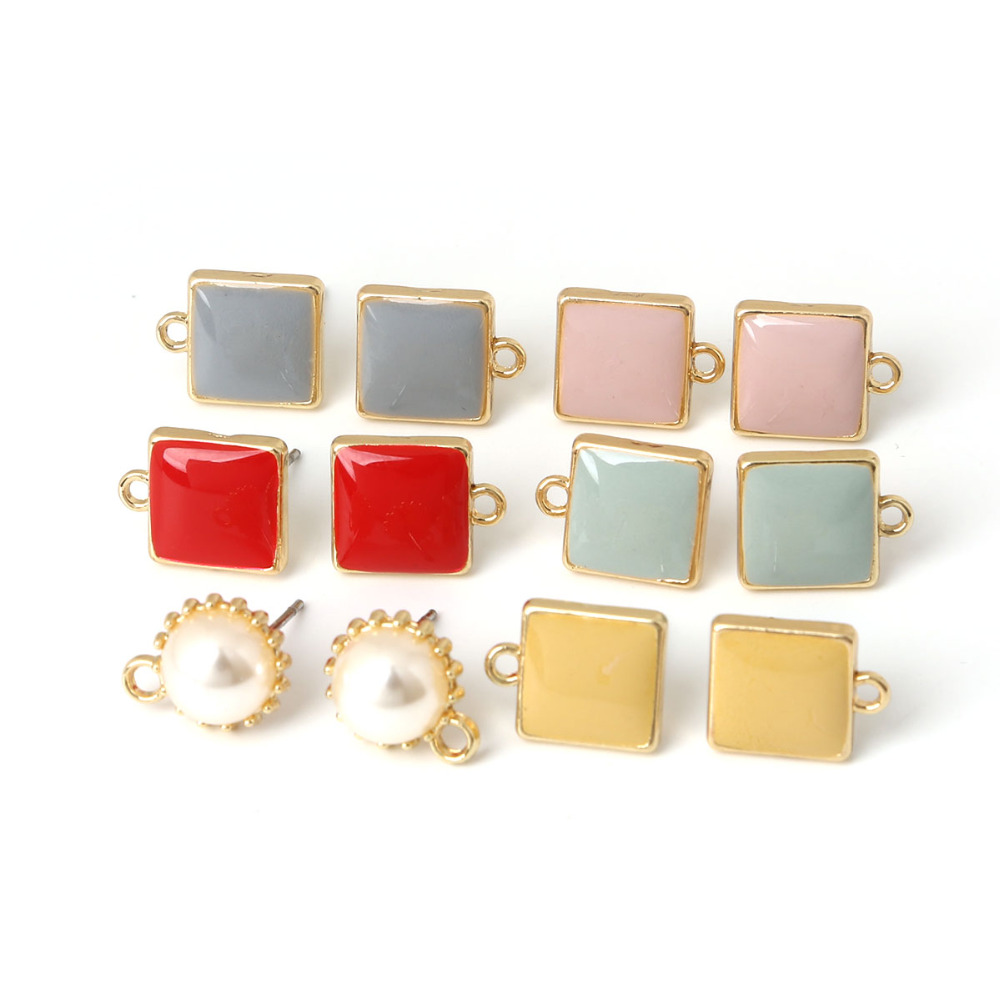 6pcs Square Shape 10mm Size 1mm Hole Pink/Red/Blue/Grey/Yellow Color Enamel Stud Earring Findings for DIY Earring Jewelry Making diy flag large 1 5 meter size yellow