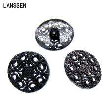 Free Shipping 50Pcs tibetan silver tone metal buttons pierced 18.0mm