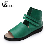 2017 Genuine Leather Women Sandals Flat Heels Peep Toes Comfortable Hnadmade Retro Women Summer Shoes