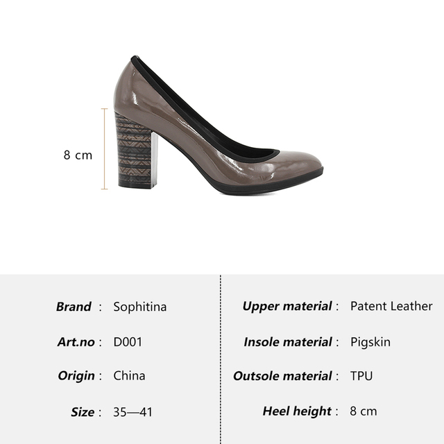 SOPHITINA Elegant Genuine Leather Pumps Woman Sheepskin High Thick Heels Pumps Solid Round Toe Office Lady