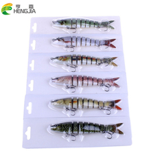 8 Sections Fishing Lures 13.6cm 18.6g Multi Jointed Baits With 6# Treble Hook High Quality 6 Colours HJ100 Free Shipping